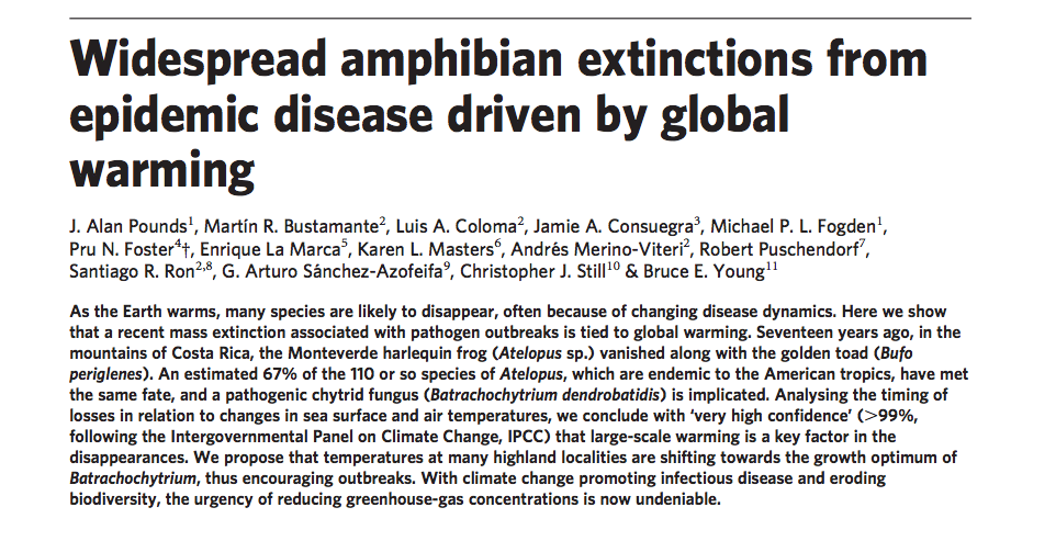 Pounds et. al's article implicating climate change in the extinction of the Golden Toad.