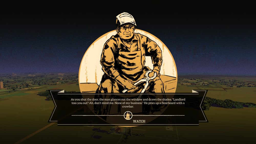 The vignettes, shown above, appear in the game as icons on the world map. If the player goes to the location, the voice-acted story pops up and the player makes choices through it.