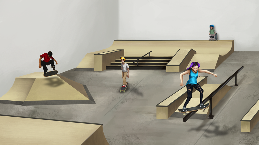 Stronger Skatepark Interior Concept Art  Photoshop illustration