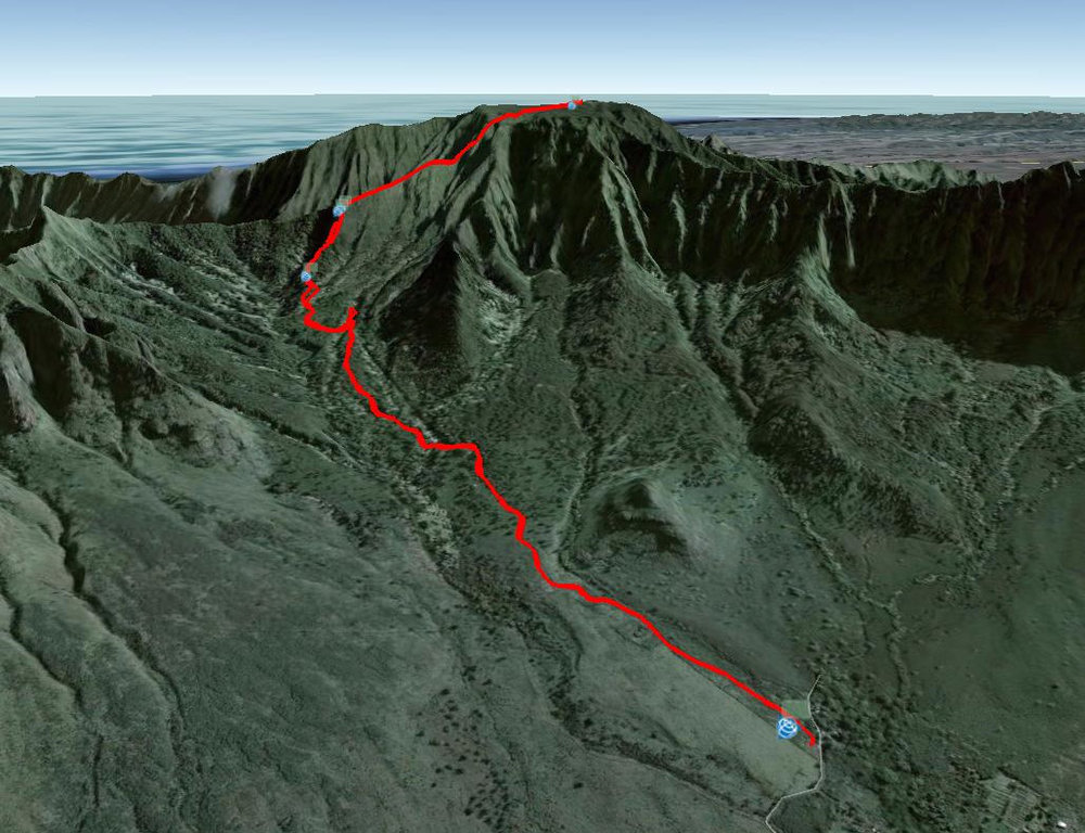 Google Earth Map to Mount Ka'ala