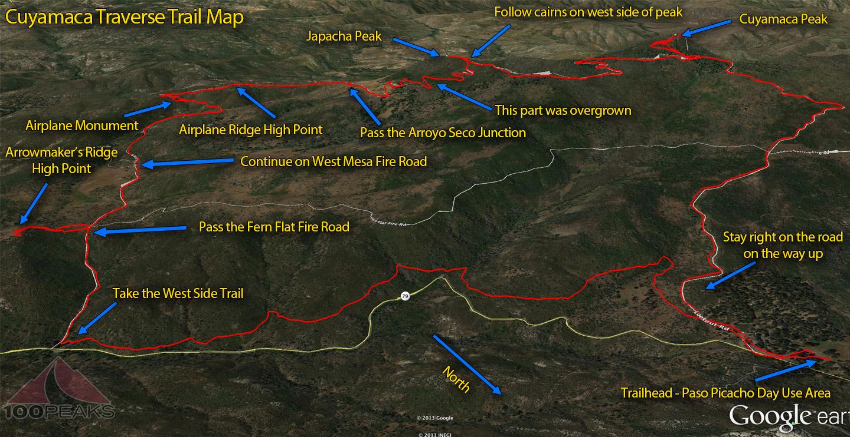Cuyamaca Traverse Trail Map