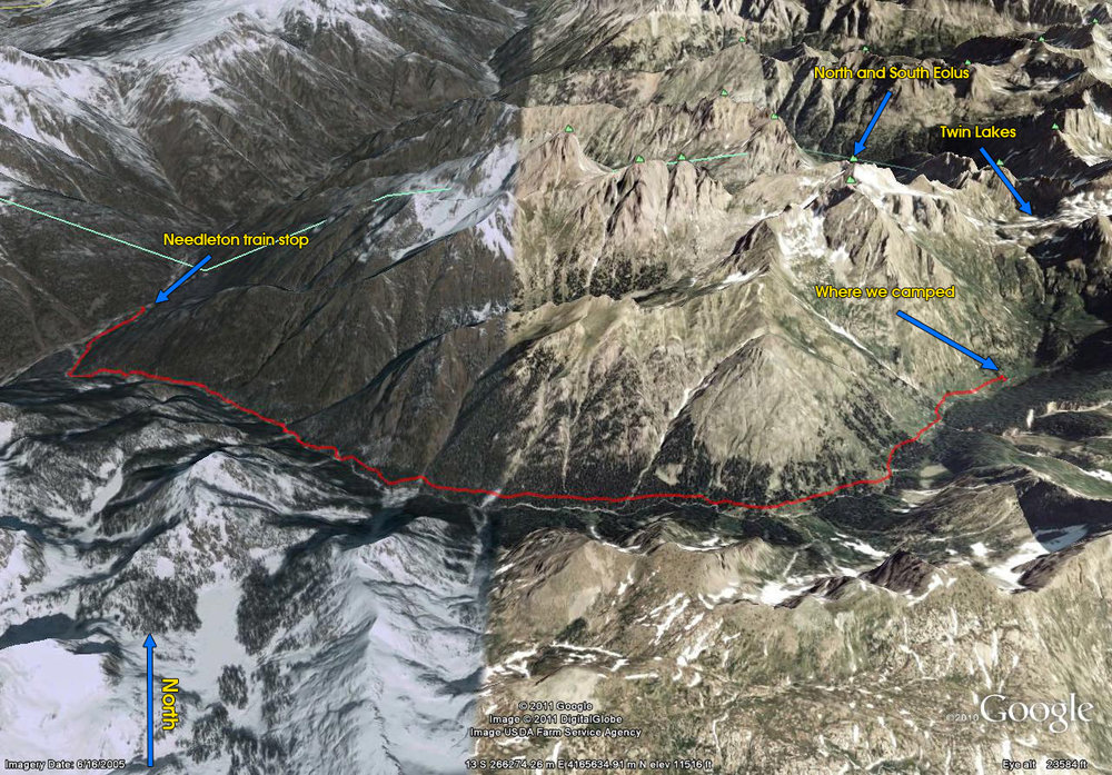 Needleton to Chicago Basin Trail Map