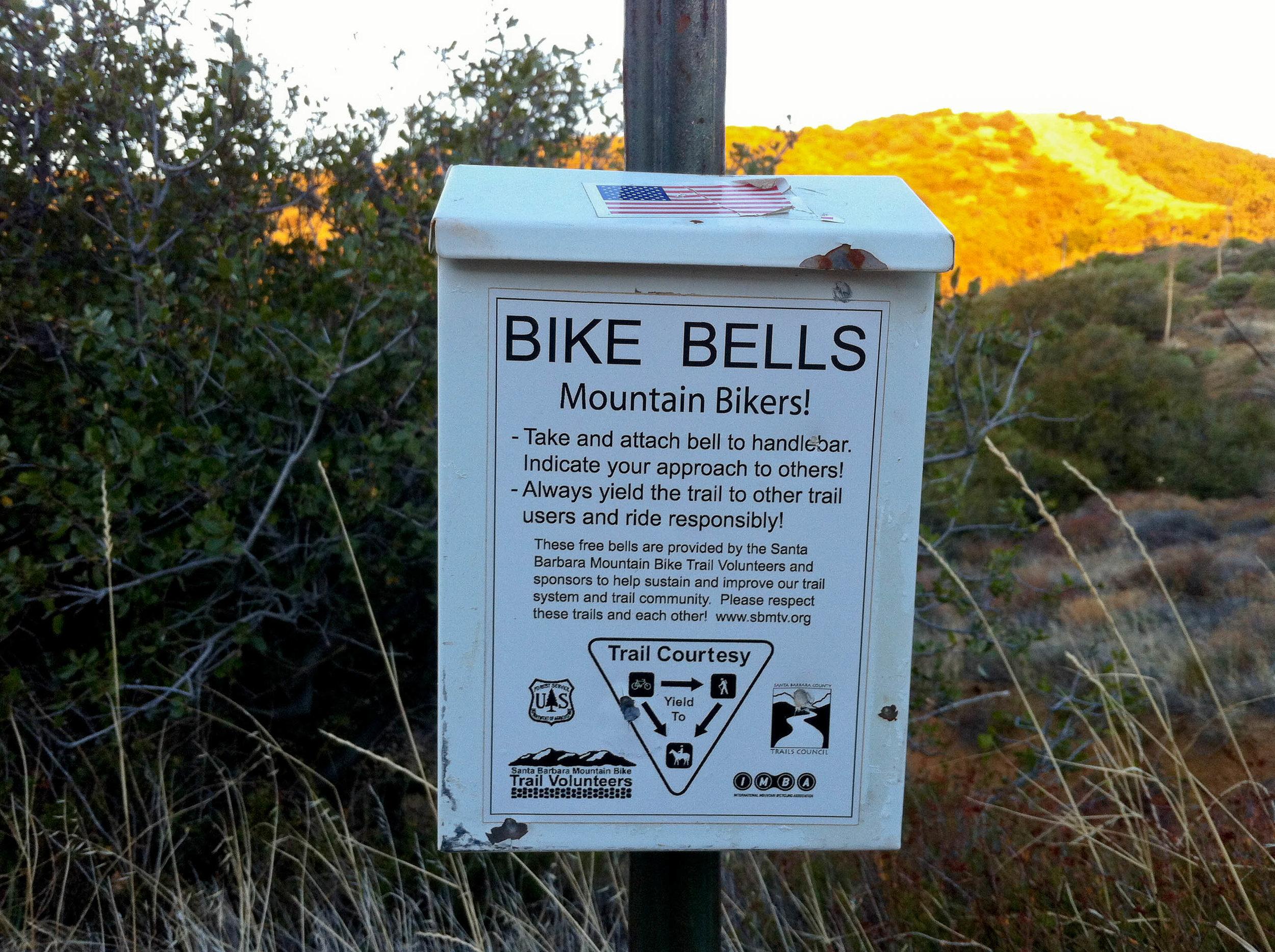 Mountain bike bells at Montecito Peak Trail head