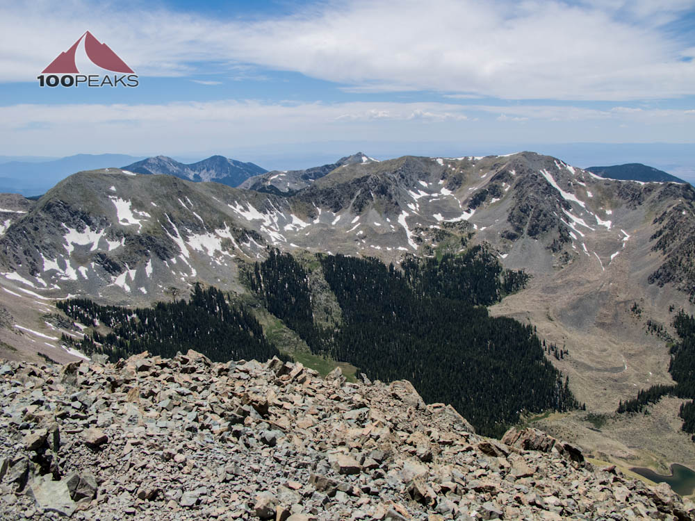 Peak 12819 and Lake Fork Peak from Wheeler Peak Summit