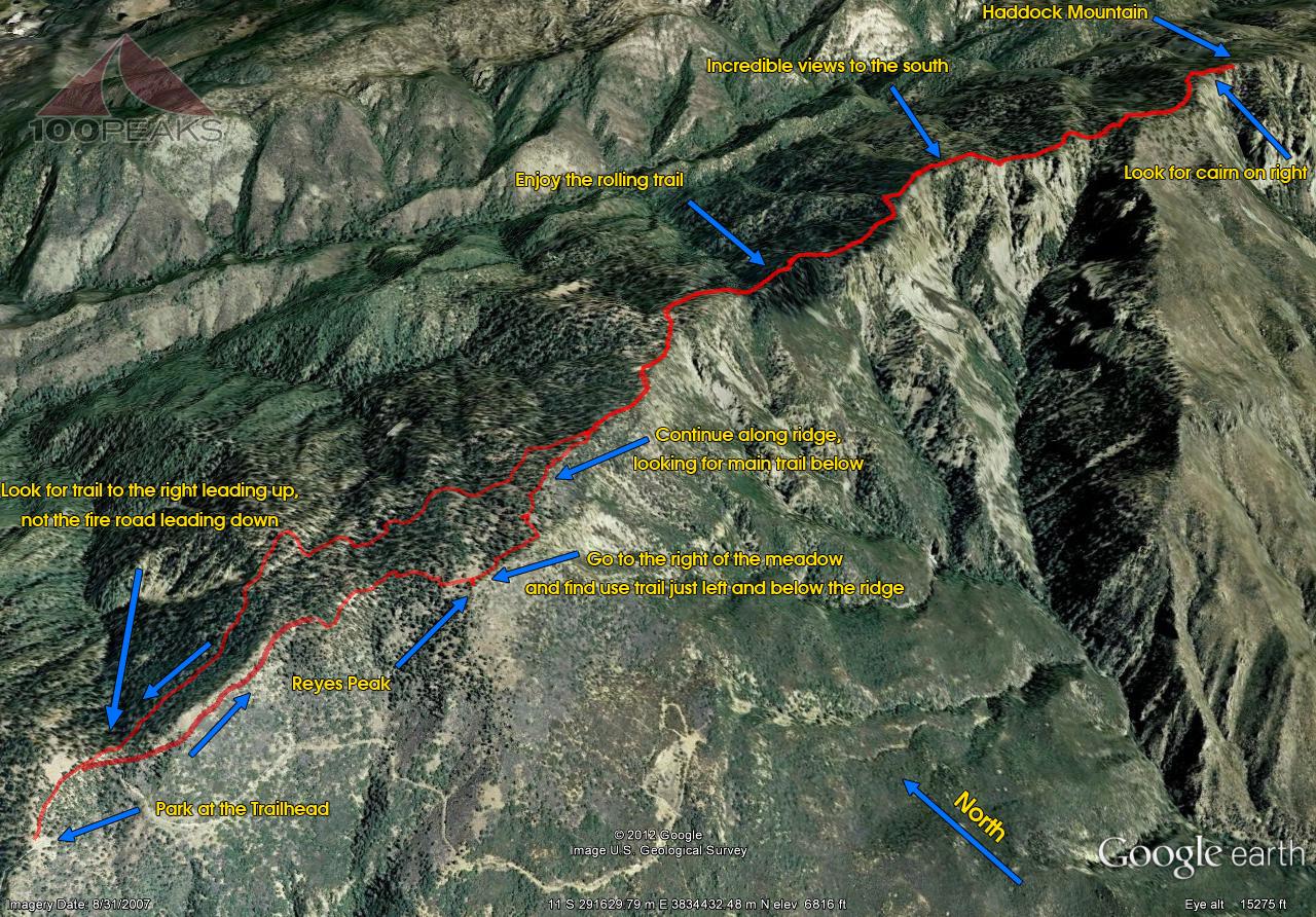 Reyes Peak and Haddock Mountain Trail Map