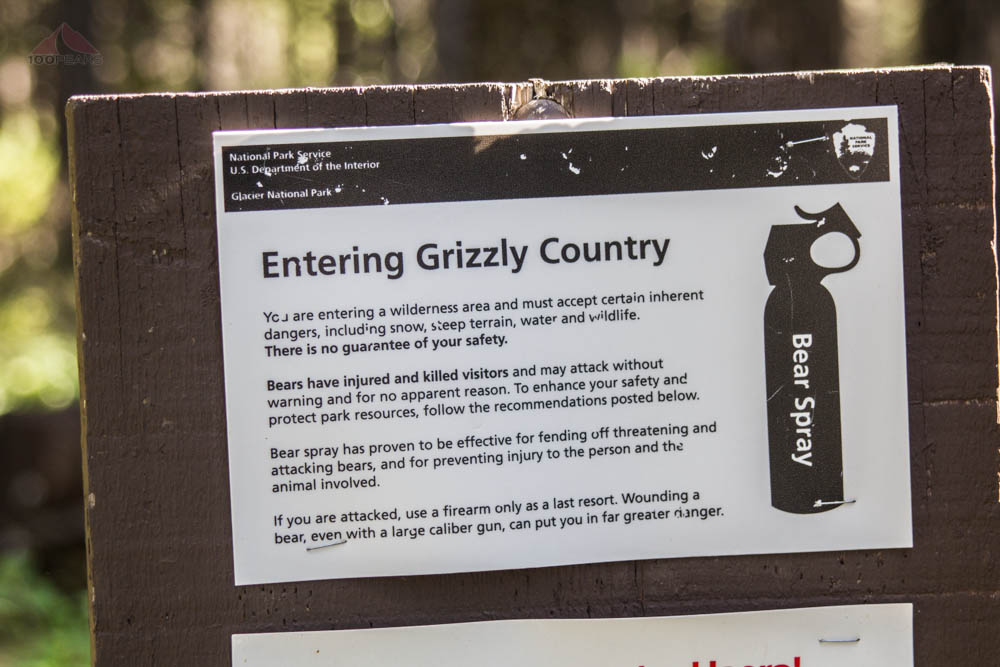 Grizzly Bear warning on the Swiftcurrent Lake Loop Trail
