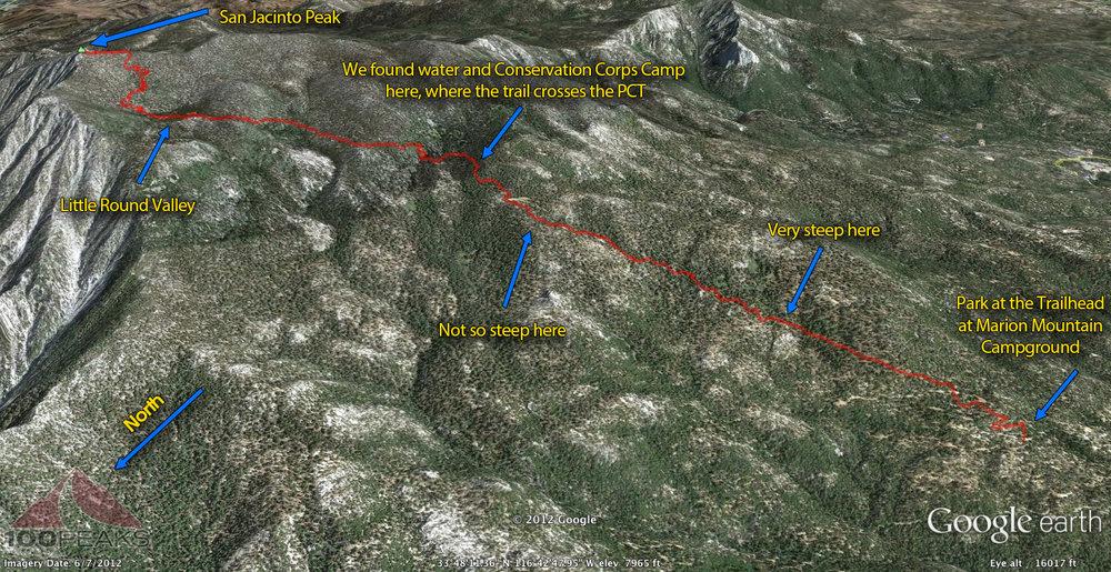 San Jacinto Peak - Marion Mountain Trail Map