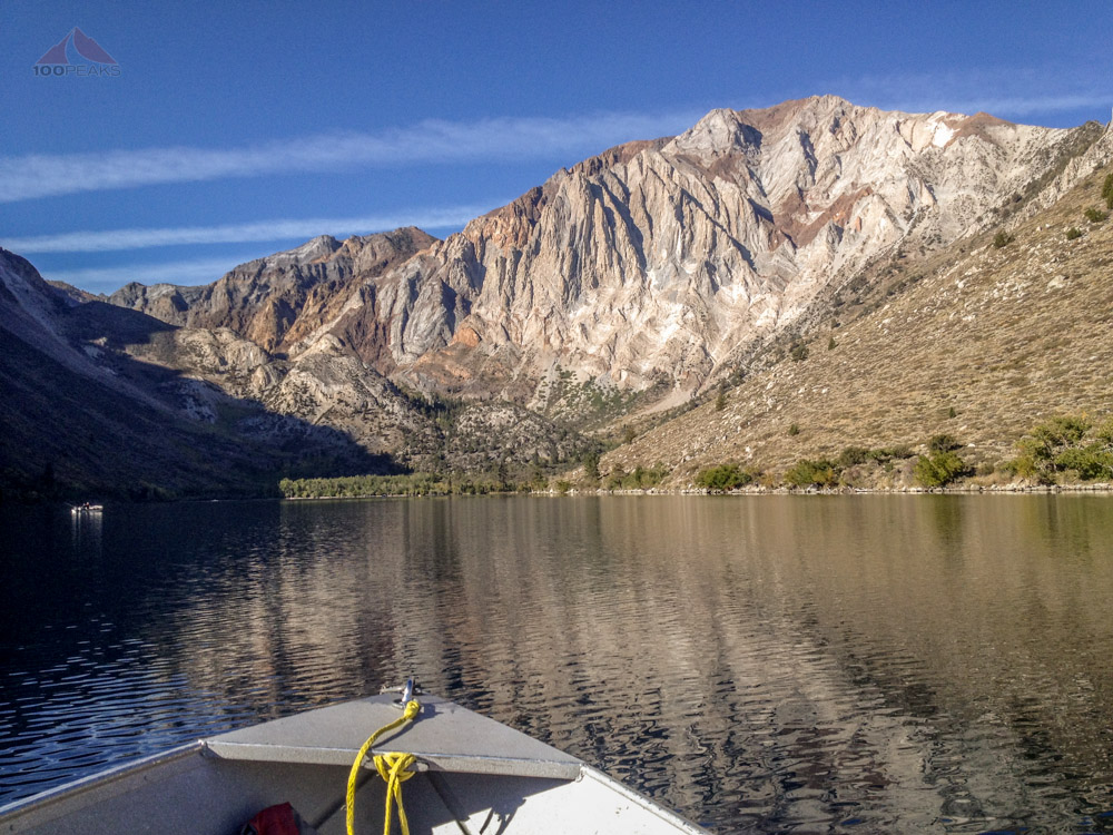 Laurel Mountain and Sevehah Cliff from a boat on Convict Lake
