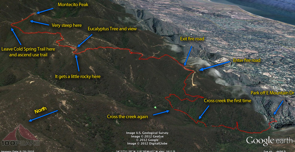 Montecito Peak Trail Map