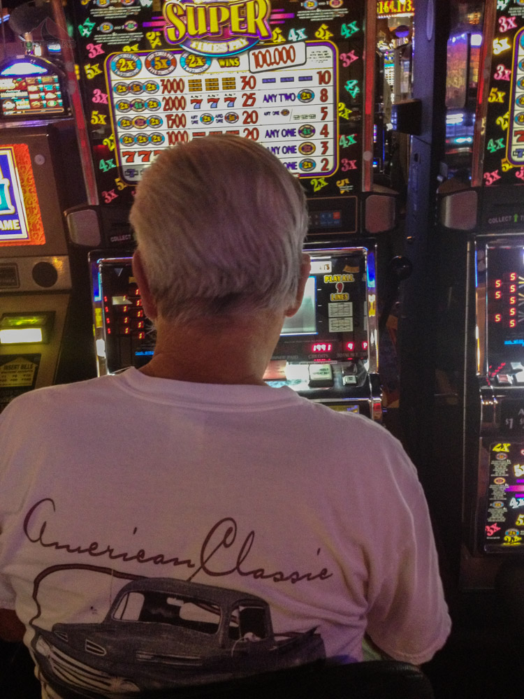Papa playing the slots at the Paiute Palace Casino