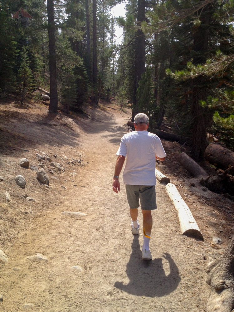 Papa hiking to Devils Postpile