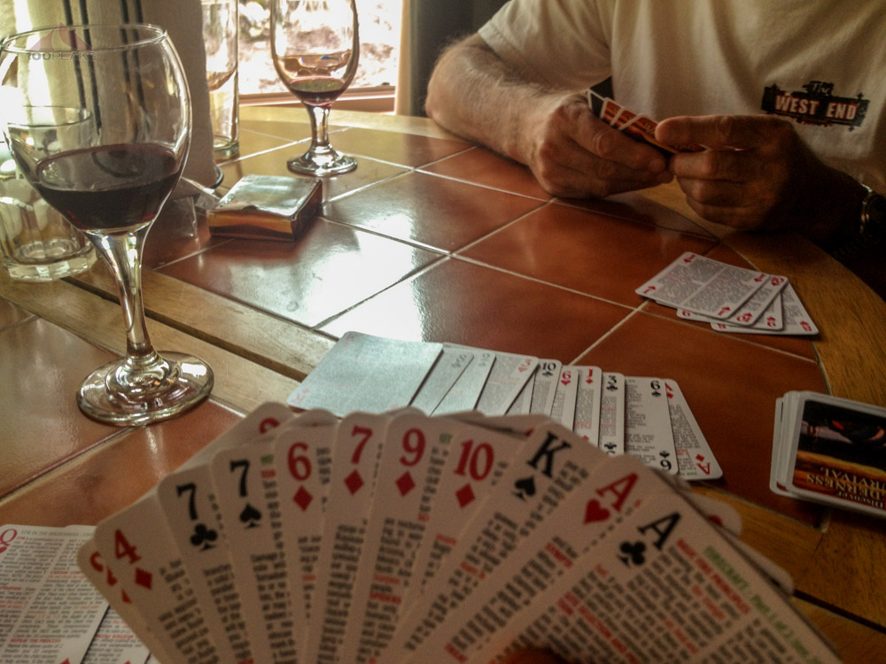 Rummy and wine in the cabin