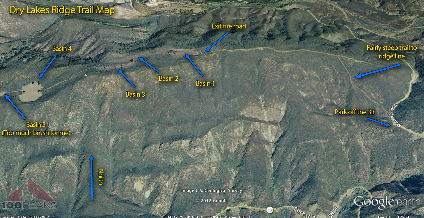 Dry Lakes Ridge Trail Map (Click to enlarge)