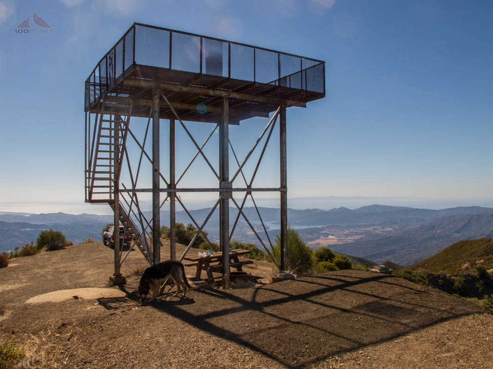 Nordhoff Peak Lookout Tower, with Masha below