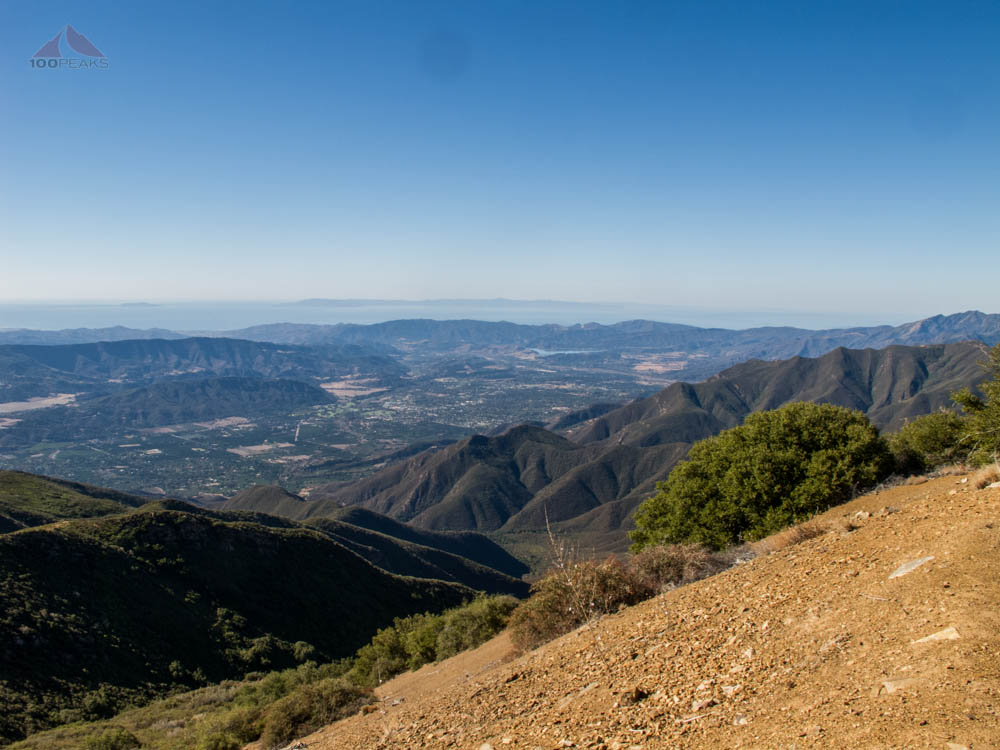 The view down into Ojai from Chief Peak