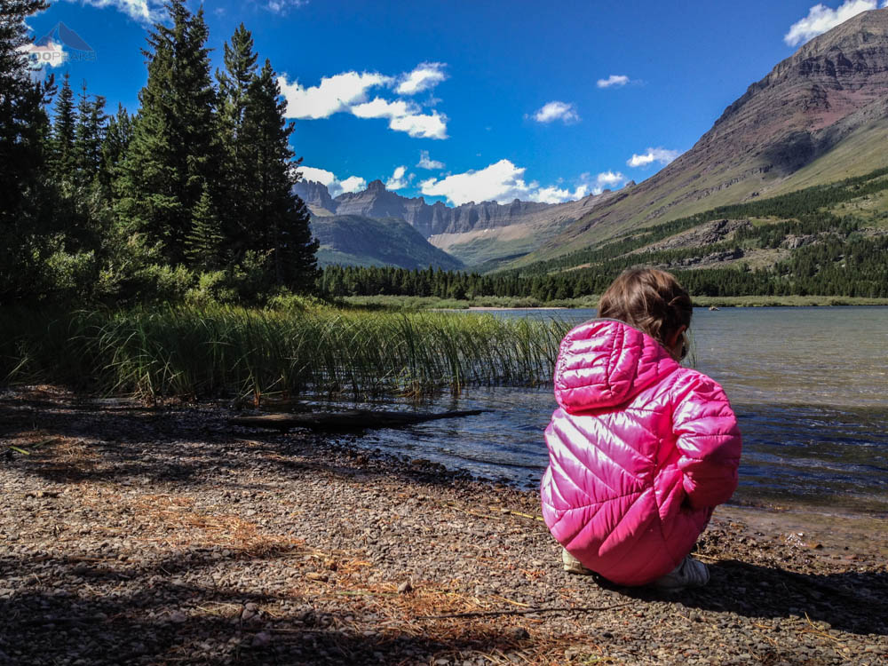 Soph on Swiftcurrent Lake with Iceberg Notch in the background
