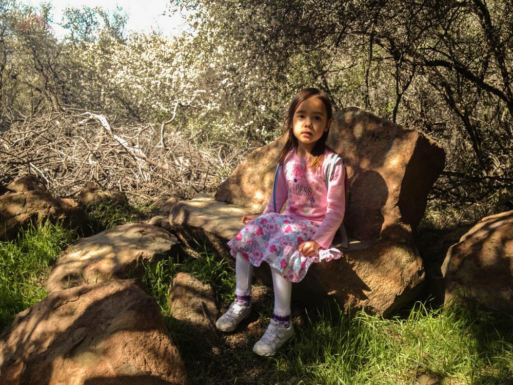 Taking a break on the rock bench