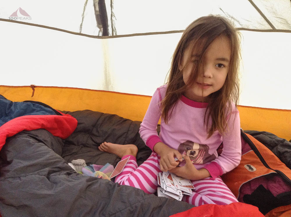 Playing cards in the tent