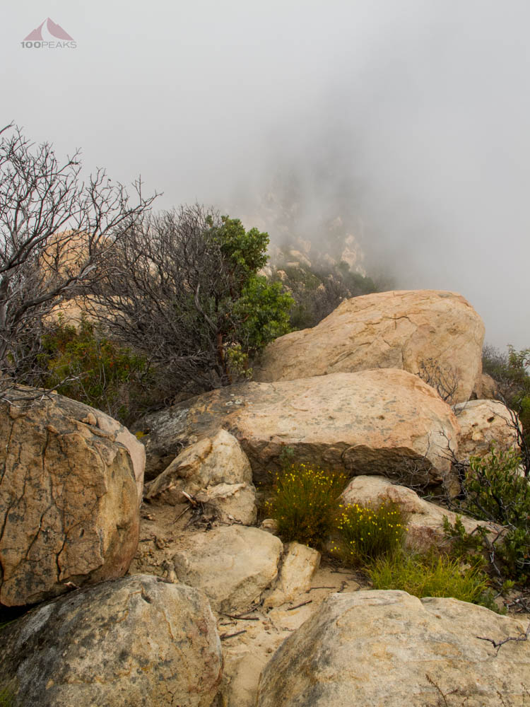 The way up along the rocky ridge line
