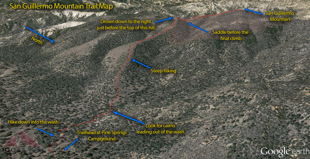 San Guillermo Mountain Trail Map