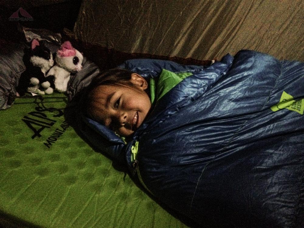 Soph, cozy in her new sleeping bag