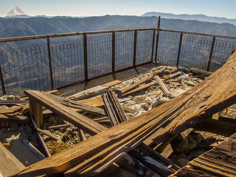 Debris on the Cuyama Peak Lookout Tower