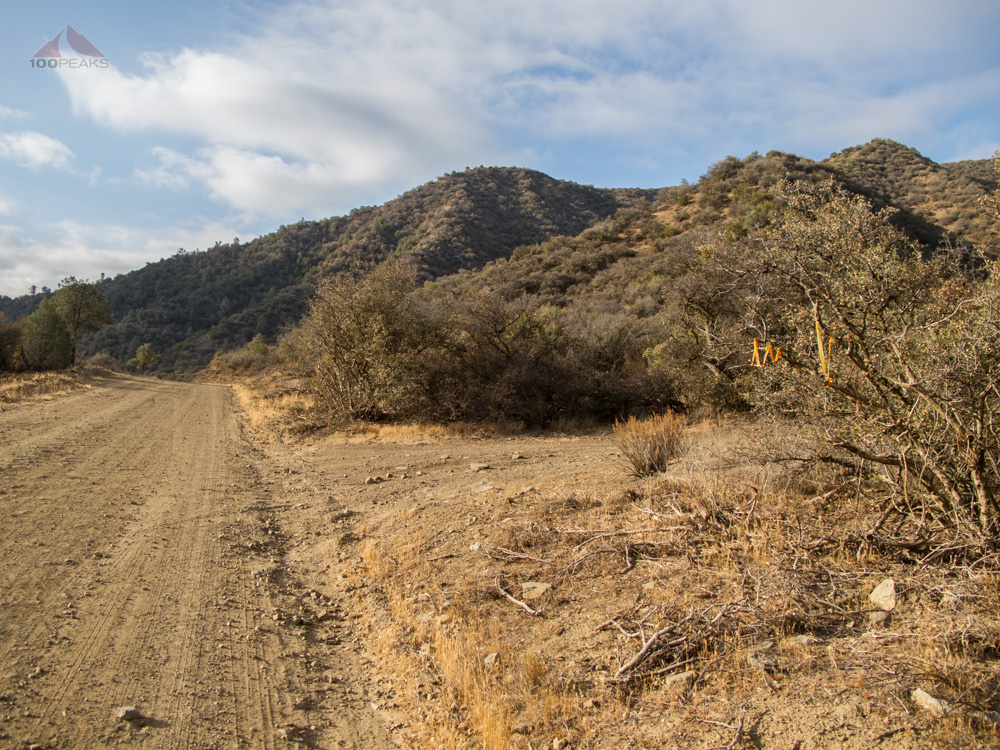 The turnoff to the Fox Mountain trailhead off Santa Barbara Canyon Road