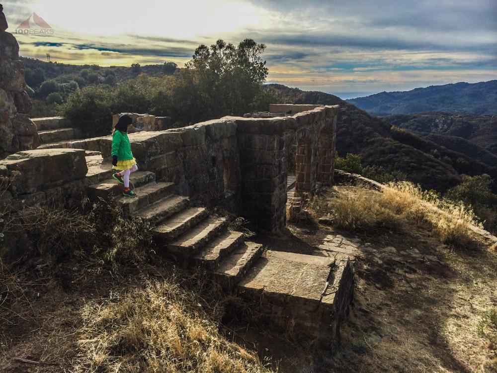 Soph, descending stairs at Knapp's Castle