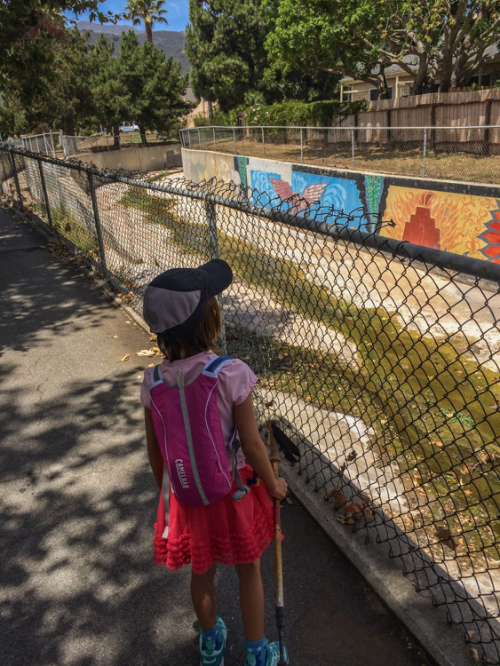 Checking out the art along Franklin Creek