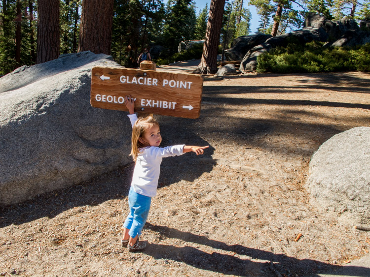 Pointing the way to go at Glacier Point in Yosemite National Park