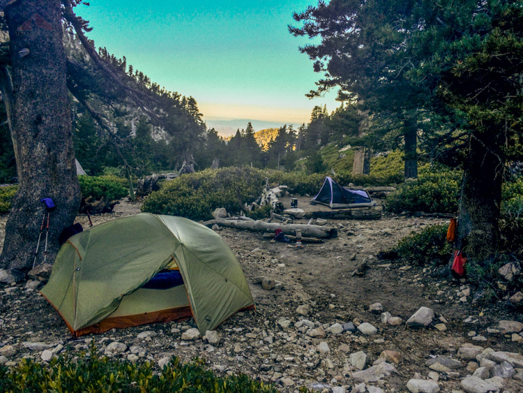 Our campsite in the morning at High Creek Camp
