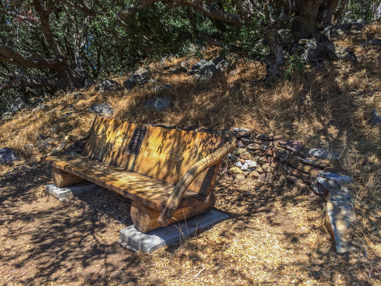 Shady bench near the summit of Volcan Mountain