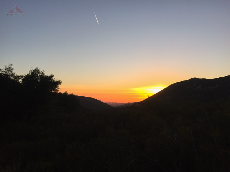 Sunset through the San Diego River Gorge