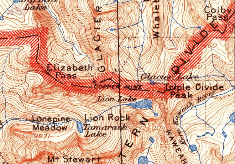 1903 Map of Elizabath Pass