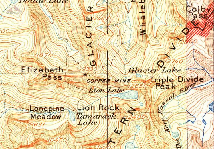 1905 Map of Elizabath Pass