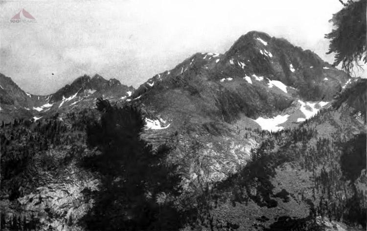 Looking down Elizabeth Pass - A jumble of mountain peaks