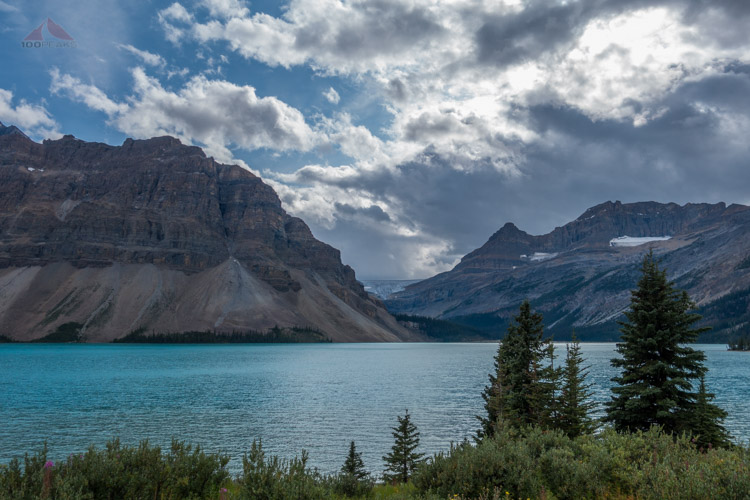 Bow Lake with Bow Glacier in the distance, on the way out