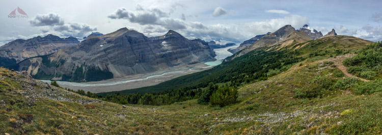 Saskatchewan Glacier and a host of peaks from Parker Ridge