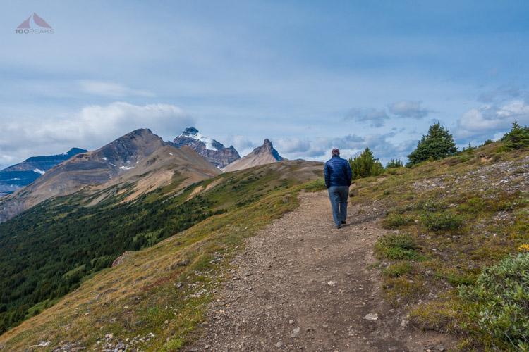 The PD, hiking along Parker Ridge
