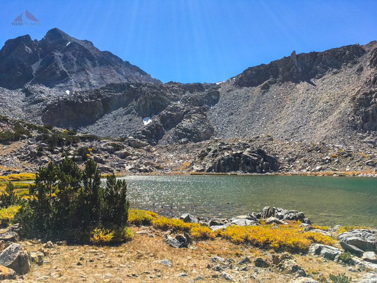 Bishop Lake with Mount Agassiz and Bishop Pass behind. I had lunch on the rocks on the edge of the lake