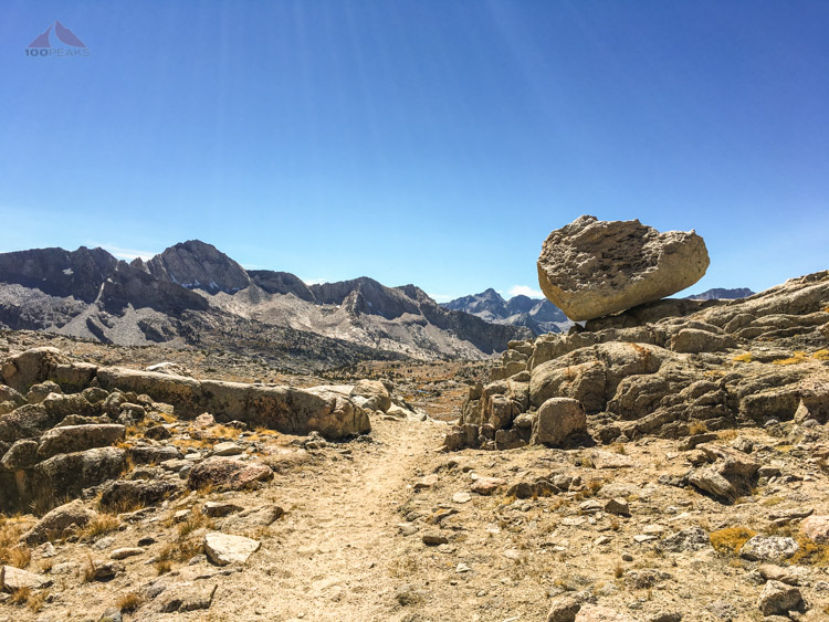 Precarious rock coming down in Dusy Basin