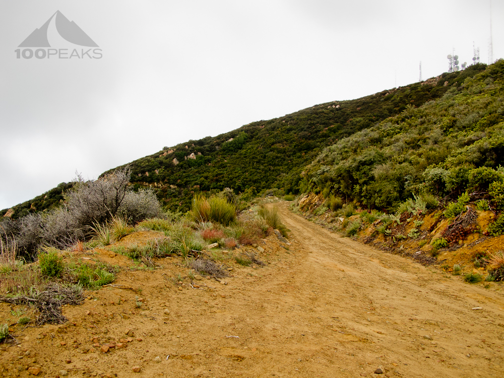 West Camino Cielo dirt road to Broadcast Peak