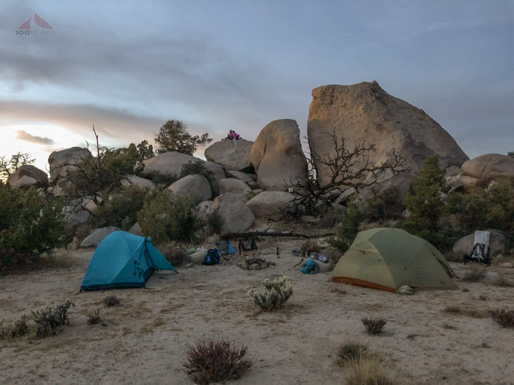 Campsite at Dusk, daughters on the rock.jpg