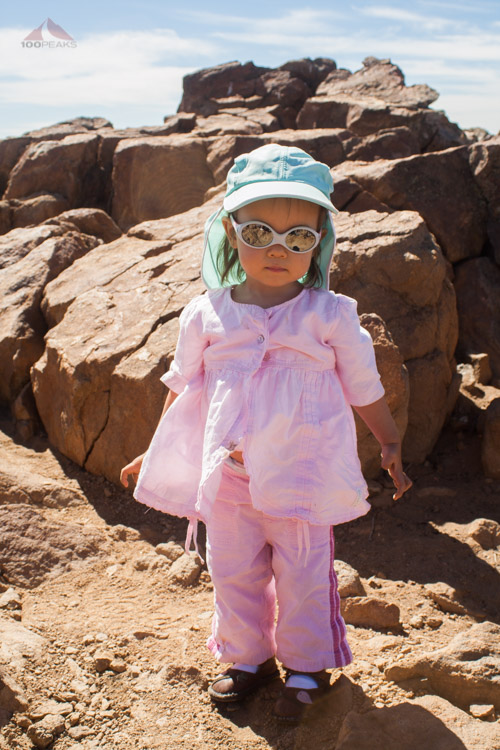 Sophia on the top of Garnet Peak, Age 1