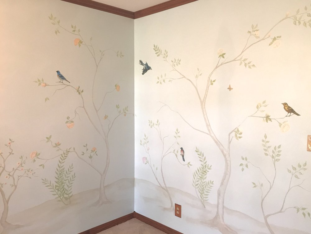 Light blue chinoiserie mural with birds