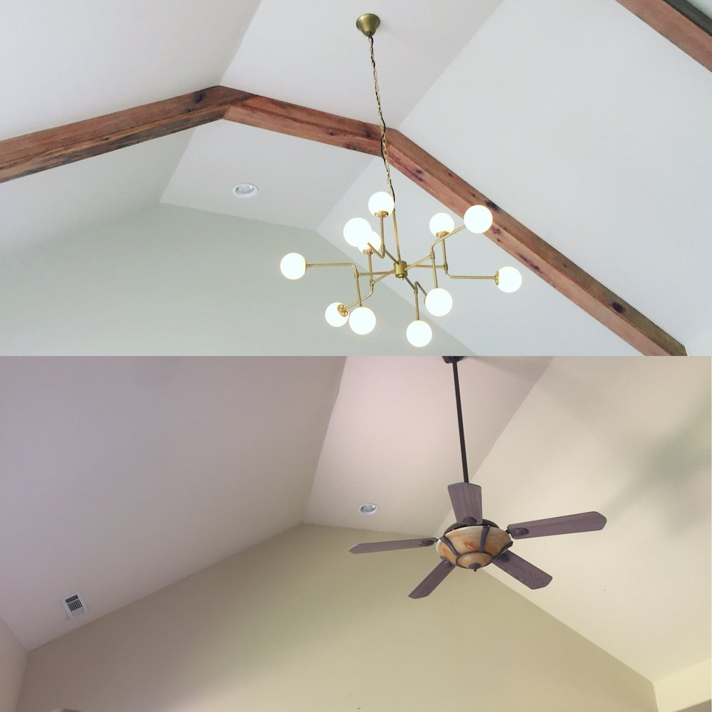 Below is the original fan and ceiling, above finished cerused oak beams and brass fixture