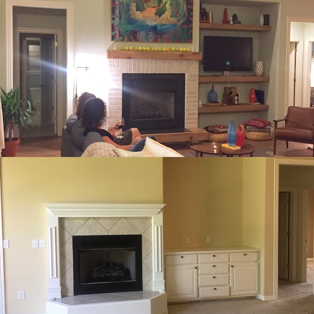 Below, oddly proportioned trim and built-ins before, Above, after with white brick, oak, and concrete surround