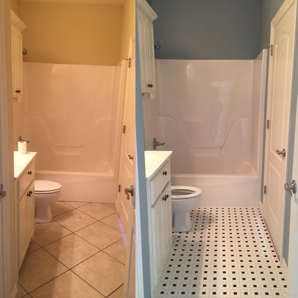 Benjamin Moore Wedgewood Gray walls and pinwheel tile,  before and after!
