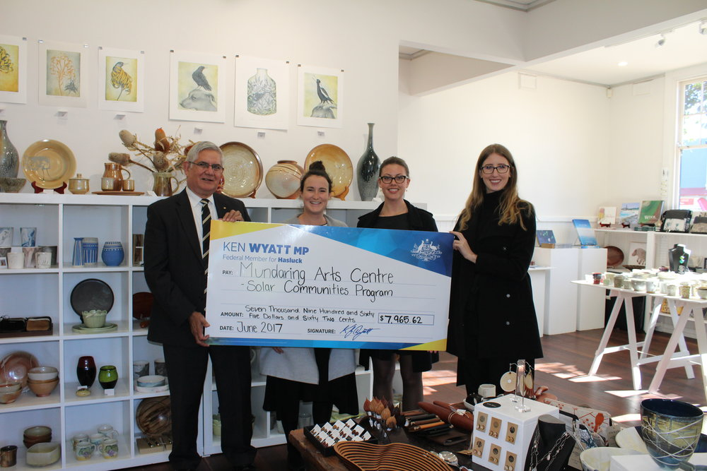 Jennifer Haynes, Mundaring Arts Centre - The Mundaring Arts Centre would like to thank Ken Wyatt and his team for their ongoing support of arts and culture in the region.Ken is an outstanding advocate and he has undertaken numerous community consultation sessions at the Mundaring and Midland Junction Arts Centre's to ensure he is in touch with the views and needs of his community.Ken greatly assisted the Mundaring Arts Centre installing solar voltaic panels as part of the Solar Communities Program. This program has meant significant cost reduction to the centre and reinforces the importance of renewable energy generation.