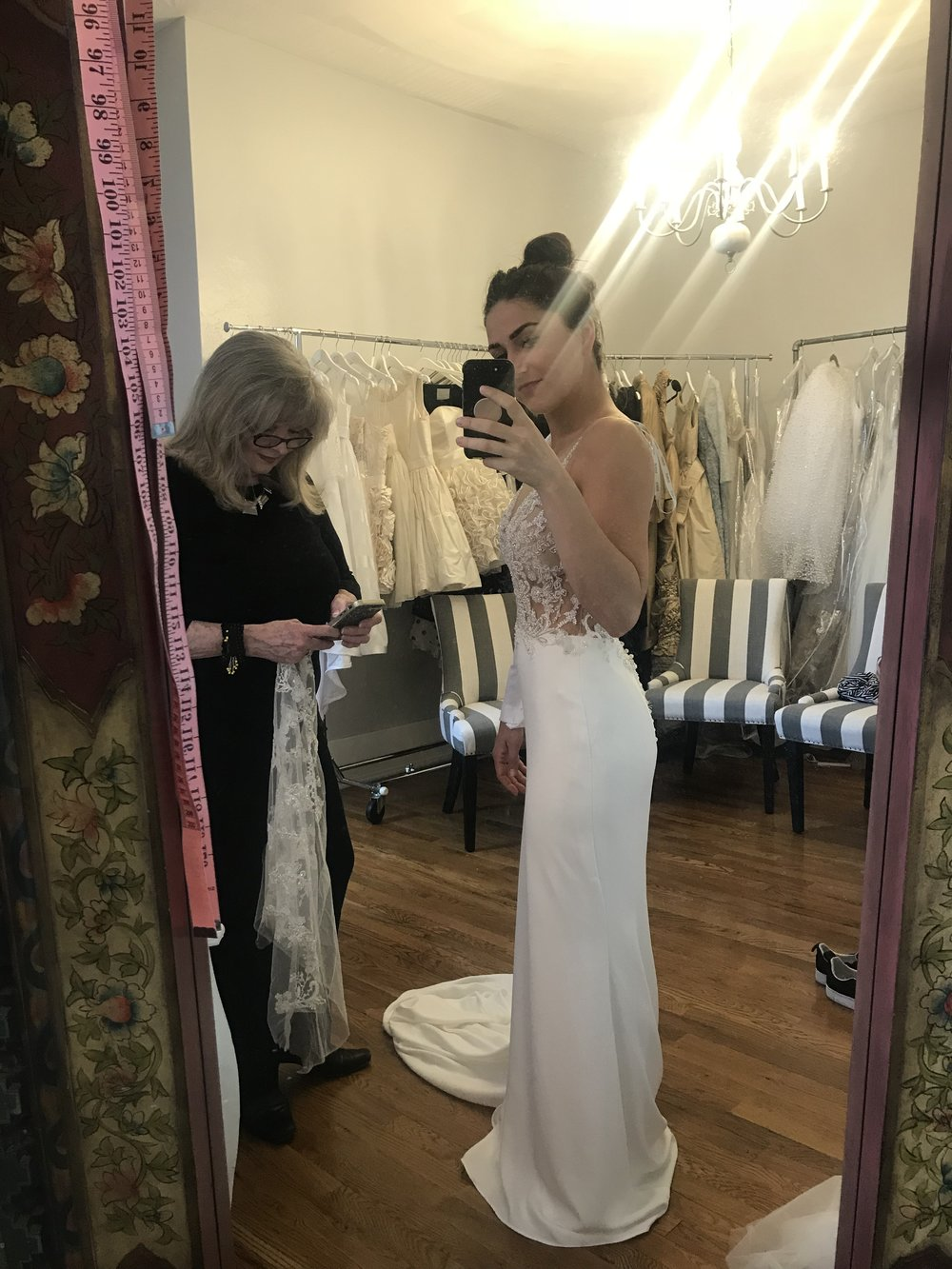 Step 1: - Fitting the bodes and hemming the bottom of the dress with the fabulous Karen herself!